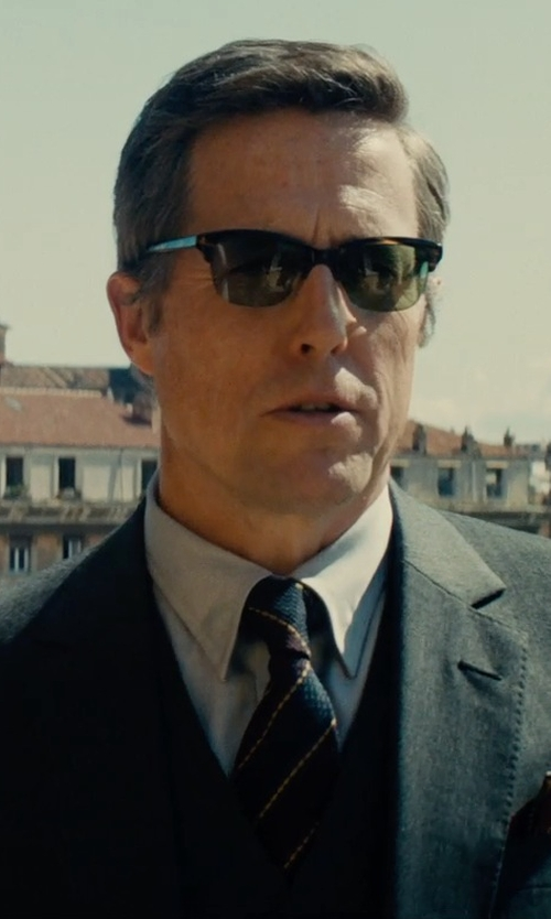Hugh Grant with Gucci Striped Silk Viscose Tie in The Man from U.N.C.L.E.