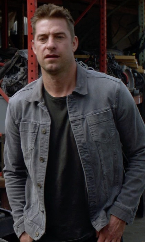 Scott Speedman with All Saints Maxwell Denim Jacket in Animal Kingdom