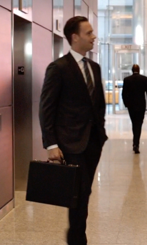 Patrick J. Adams with Pratesi Leather Italian Leather Machiavelli Attache Case in Suits
