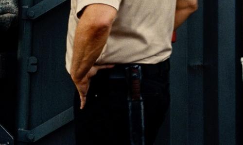 Vincent D'Onofrio with Hedgehog Leatherworks Ka-Bar Knife Sheath in Jurassic World