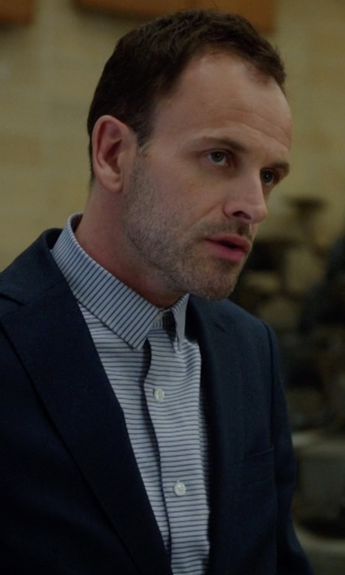 Jonny Lee Miller with Cego Custom Made Narrow Collar Stripe Button Shirt in Elementary