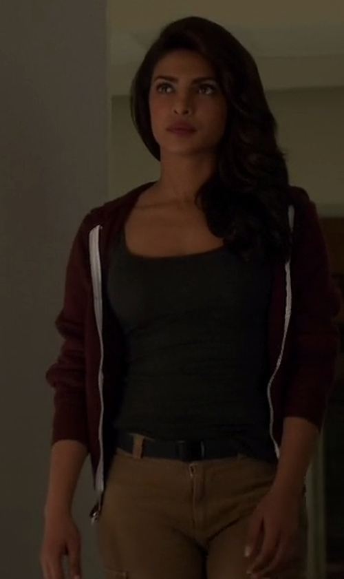 Priyanka Chopra with Alternative Women's Adrian Fleece Zip Front Hoodie Sweatshirt in Quantico