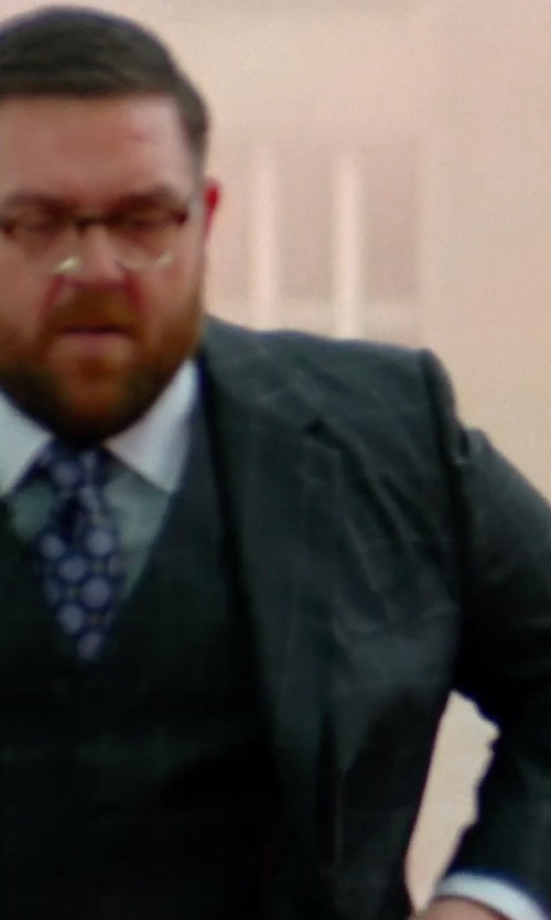 Nick Frost  with Flatseven Checks Pattern Casual Vest Waistcoat in Unfinished Business