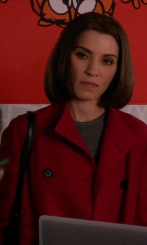 Julianna Margulies with Boss Hugo Boss Carila Cashmere Virgin Wool Car Coat in The Good Wife