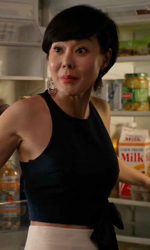 Yunjin Kim with Elizabeth and James Eniko Sleeveless Crop Top in Mistresses