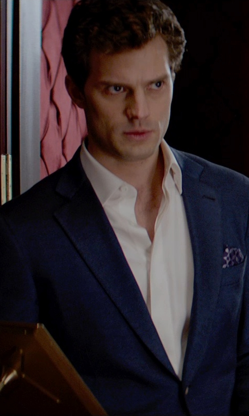 Jamie Dornan with Ralph Lauren Polka-Dot Silk Pocket Square in Fifty Shades of Grey
