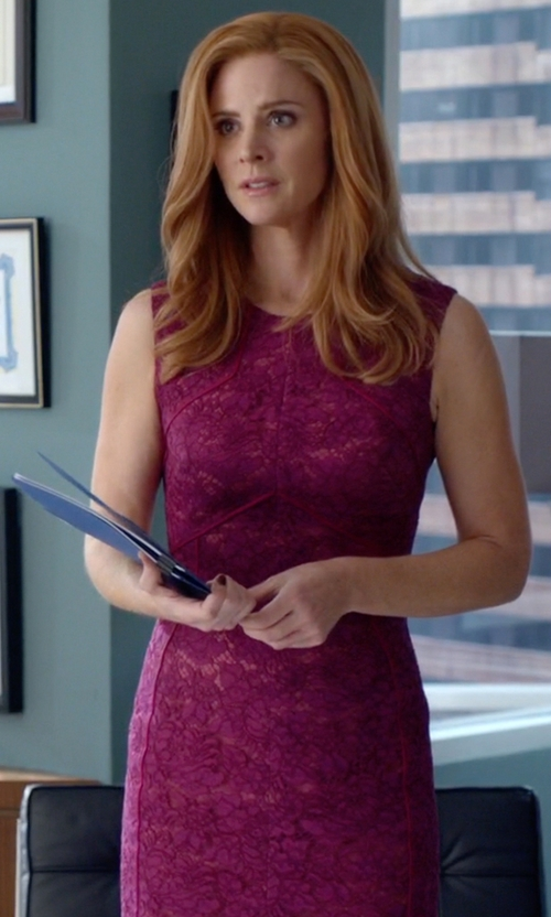 Sarah Rafferty with J. Mendel Corded Floral Lace Sheath Dress in Suits