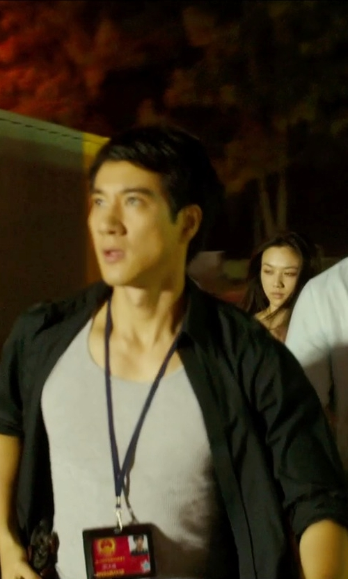 Leehom Wang with Hugo Slim Fit Cotton Stretch Dress Shirt in Blackhat