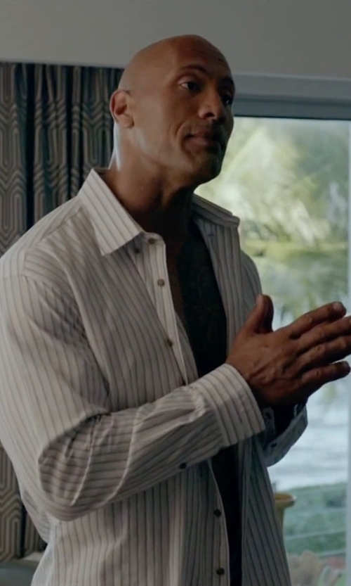 Dwayne Johnson with Dolce & Gabbana Striped Cotton Concealed Button Dress Shirt in Ballers
