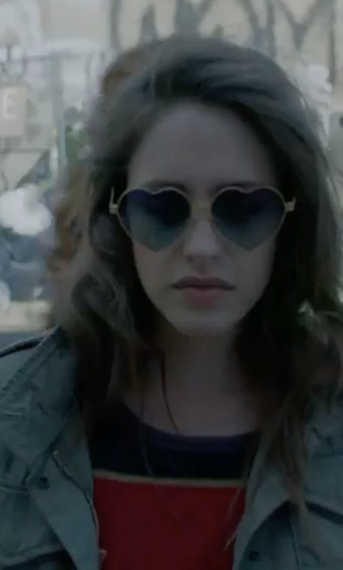 Carly Chaikin with Rails Elliott Embroidered Utility Jacket in Mr. Robot