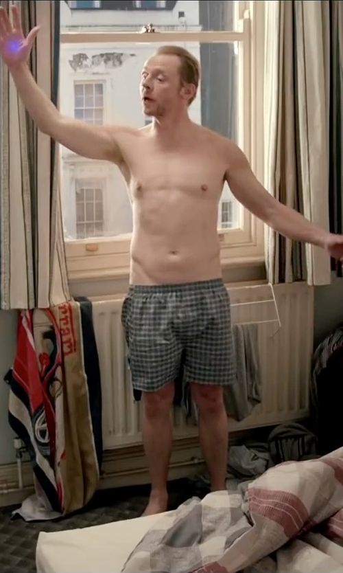 Simon Pegg with Venom Luxury Divas Plaid Boxer Shorts in Absolutely Anything