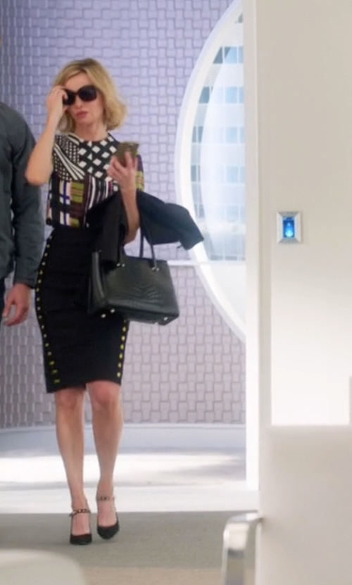 Calista Flockhart with Stuart Weitzman Suchastud Leather Mary Jane Pumps in Supergirl