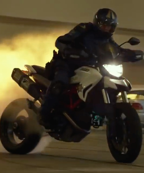 Dax Shepard with Ducati Hypermotard 939 Motorcycle in CHIPs