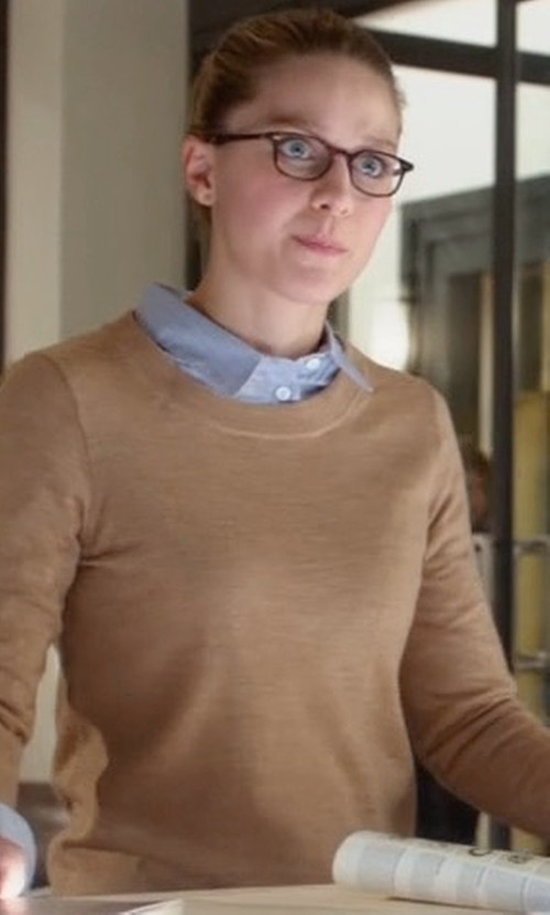Melissa Benoist with Neiman Marcus Cashmere Collection Modern Superfine Cashmere Crewneck Sweater in Supergirl