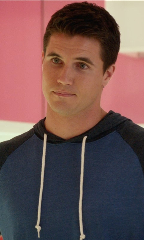 Robbie Amell with RVCA 'Set Up' Lightweight Jersey Hoodie in The DUFF