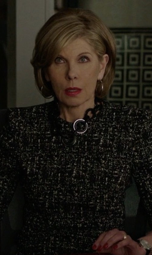 Christine Baranski with Alexander McQueen Zip-Hem Printed Sheath Dress in The Good Fight