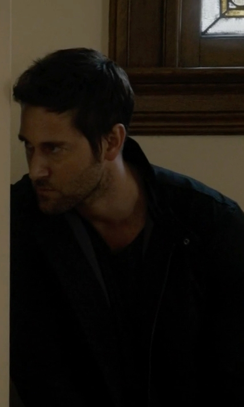 Ryan Eggold with DKNY Jeans Coated Cotton Biker Jacket in The Blacklist
