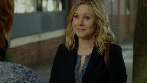Kristen Bell with Issa Becci Cropped Crepe Jacket in The Boss