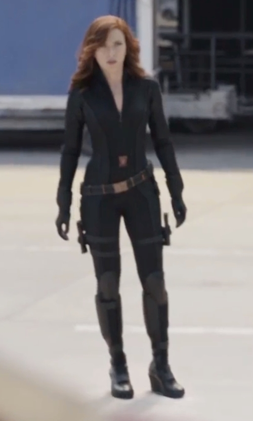 Scarlett Johansson with Judianna Makovsky (Costume Designer) Custom Made Black Widow Civil War Costume in Captain America: Civil War