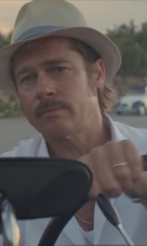 Brad Pitt with Haggar Pattern Straw Fedora Hat in By the Sea