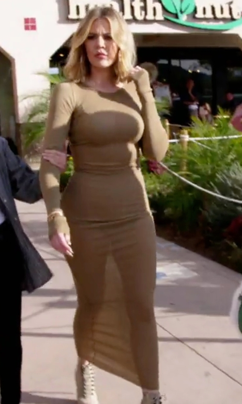 Khloe Kardashian with Faith Connexion Ribbed Long Sleeve Cotton Dress in Keeping Up With The Kardashians