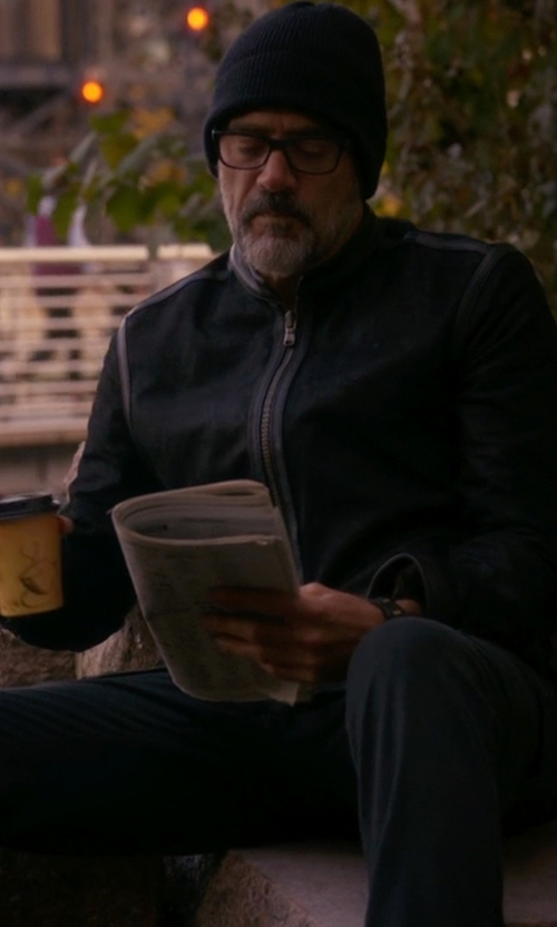 Jeffrey Dean Morgan with J Brand Jeans  Sterne Leather Bomber Jacket in The Good Wife