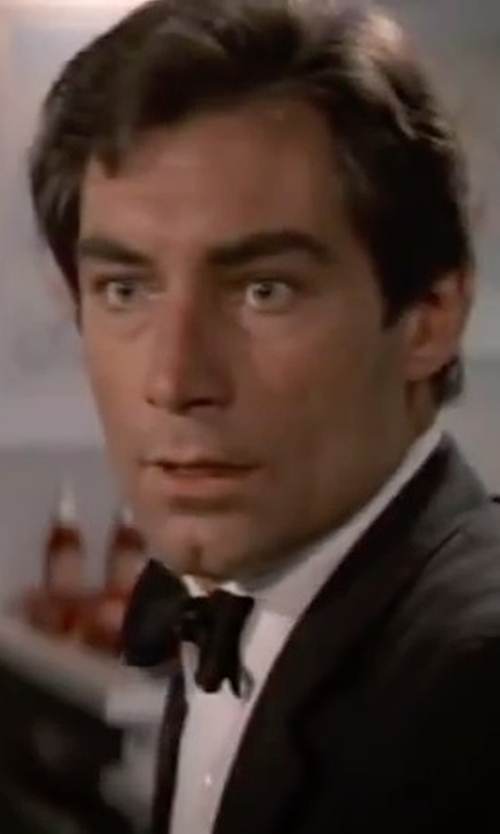 Timothy Dalton with Ermenegildo Zegna Pre-Tied Faille Bow Tie in The Living Daylights