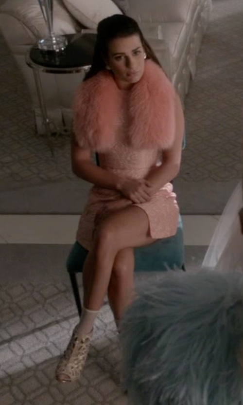 Lea Michele with Bar III Abril Laser Cut Shooties in Scream Queens