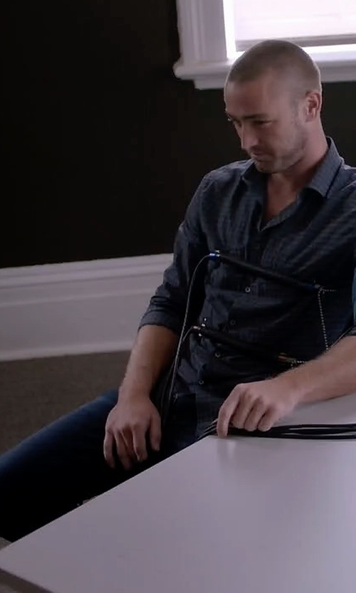 Jake McLaughlin with Hudson  Sartor Turnstone Washed Skinny-Leg Denim Jeans in Quantico
