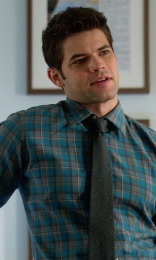 Jeremy Jordan with Tommy Hilfiger Kirkwyn Madras Plaid Long-Sleeve Shirt in Supergirl