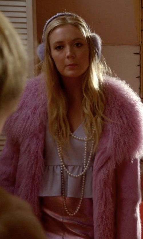 Billie Lourd with Pello Bello Fluffy Feather Jacket in Scream Queens