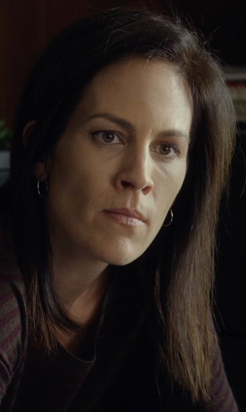 Annabeth Gish with Ed Levin Jewelry Silver Forged Hoop Earrings in Before I Wake