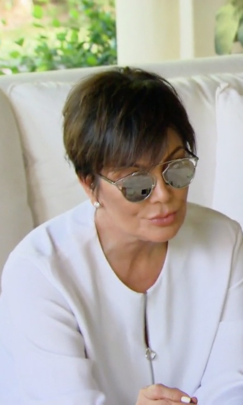 Kris Jenner with Stella Mccartney Zip-Front Long-Sleeve Blouse in Keeping Up With The Kardashians