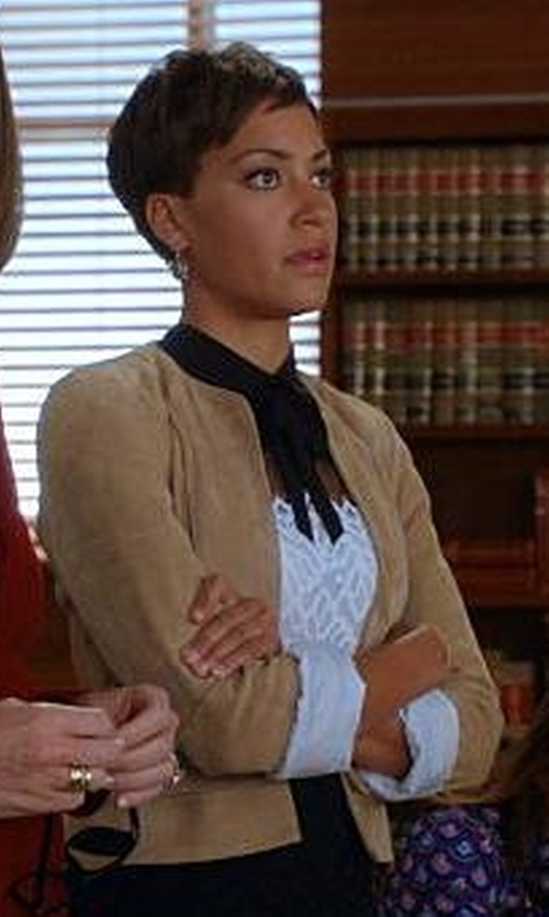 Cush Jumbo with Sandro Rozen Dress in The Good Wife