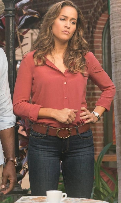 Jaina Lee Ortiz with 7 For All Mankind The Ankle Released Hem Skinny Jeans in Rosewood
