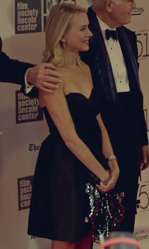 Naomi Watts with Alfred Sung Strapless Satin Fit & Flare Dress in While We're Young