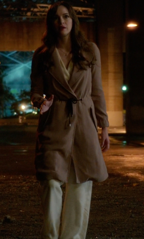 Danielle Panabaker with Rag & Bone Evie Coat in The Flash
