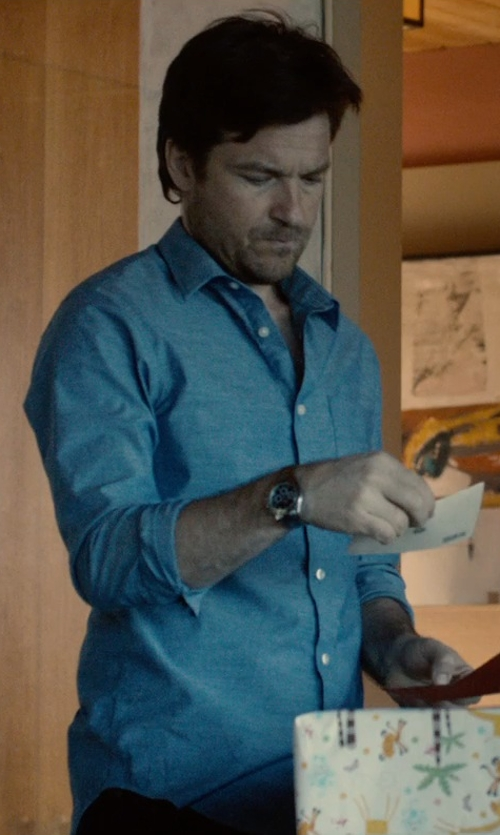Jason Bateman with Burberry Brit Cotton And Linen-Blend Chambray Shirt in The Gift