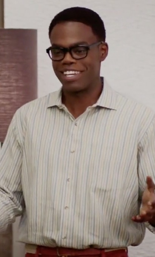 William Jackson Harper with Tailorbyrd 'Sand Stripe' Long Sleeve Sport Shirt in The Good Place