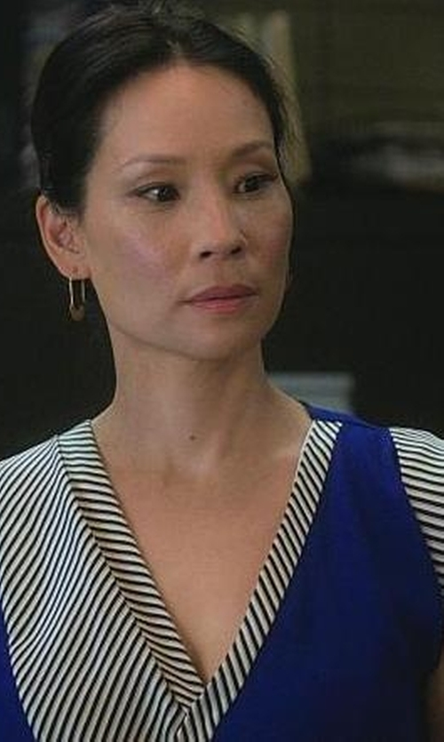 Lucy Liu with Bouchra Jarrar Couture Asymmetric Crepe Satin Wrap-dress in Elementary