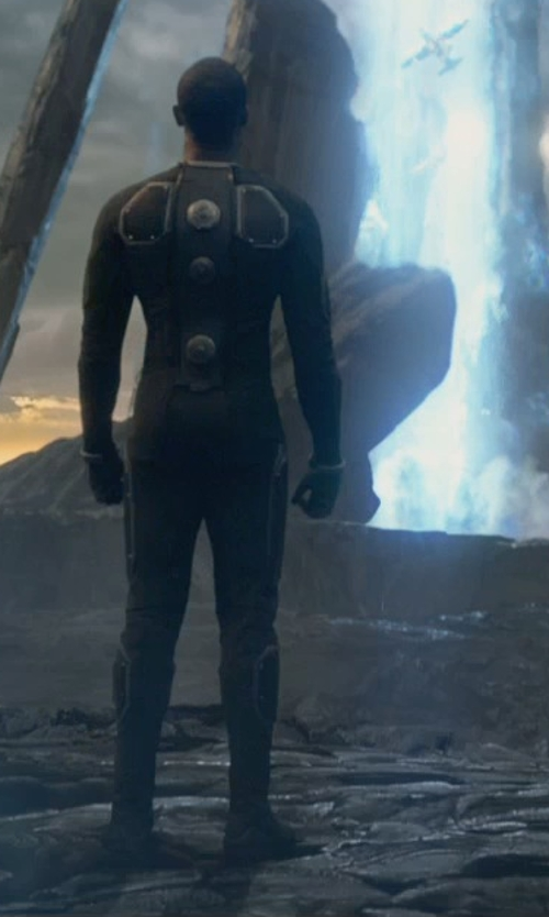 Michael B. Jordan with George L. Little (Costume Designer) Custom Made The Human Torch Costume (Johnny Storm) in Fantastic Four