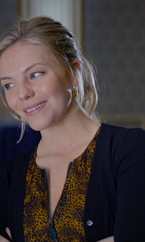 Eloise Mumford with Carven Gathered Leopard Print Dress in Fifty Shades of Grey