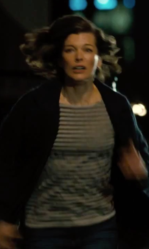 Milla Jovovich with Enza Costa Striped T-Shirt in Survivor