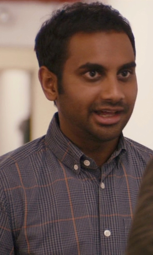 Aziz Ansari with John W. Nordstrom Windowpane Plaid Sport Shirt in Master of None