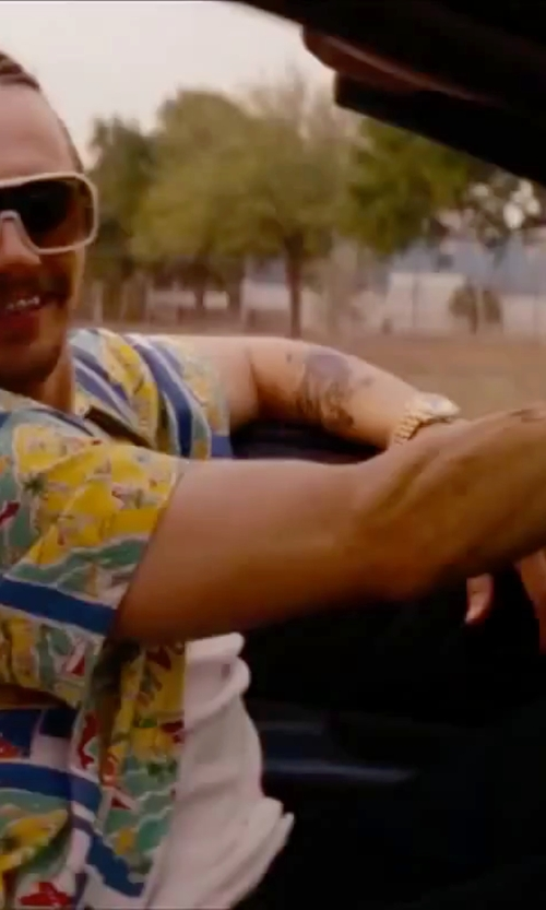 James Franco with On Shore Men's Tropical Hawaiian Ukulele Print Aloha Shirt in Spring Breakers