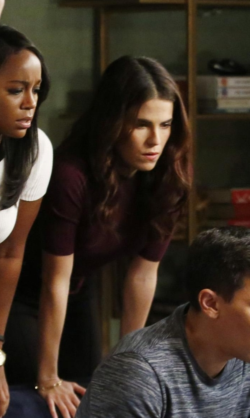 Karla Souza with Vince Skinny Rib Tee Shirt in How To Get Away With Murder