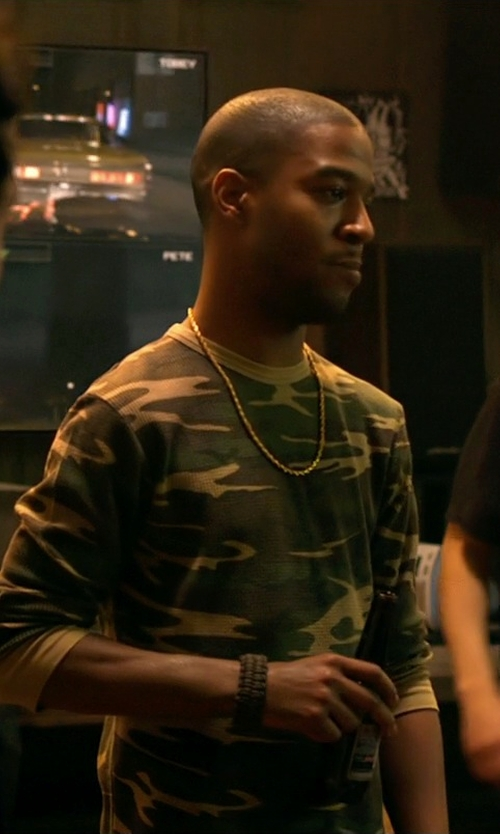 Scott Mescudi with Ralph Lauren Camo Waffle-Knit Pullover Shirt in Need for Speed