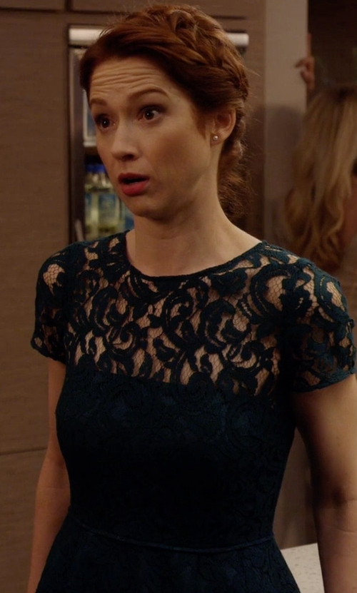 Ellie Kemper with J. Crew Alisa Dress In Leavers Lace in Unbreakable Kimmy Schmidt