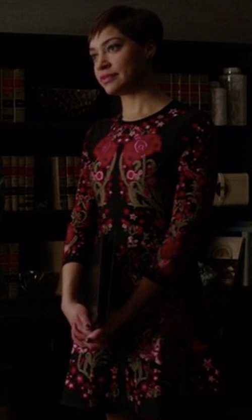 Cush Jumbo with Roberto Cavalli Floral Design Knitted Dress in The Good Fight