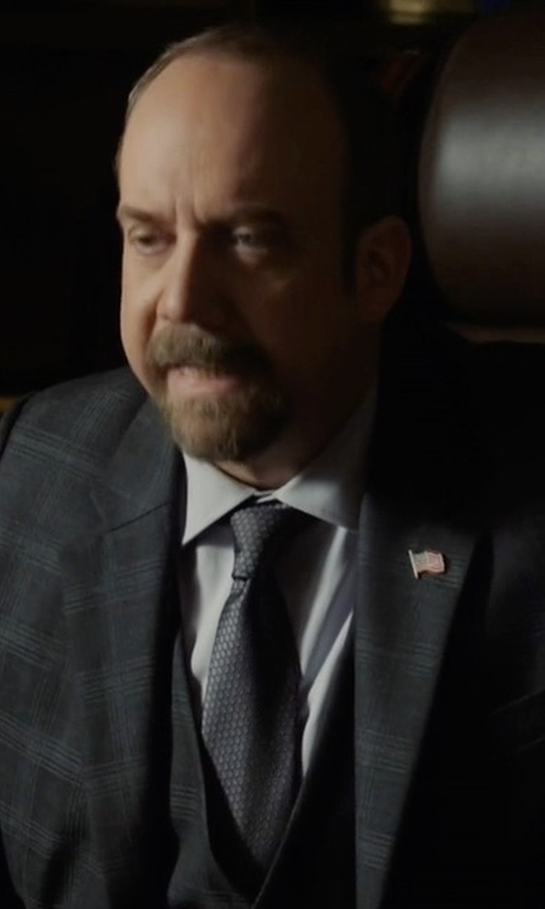 Paul Giamatti with Polo Ralph Lauren Madison Woven Silk Tie in Billions